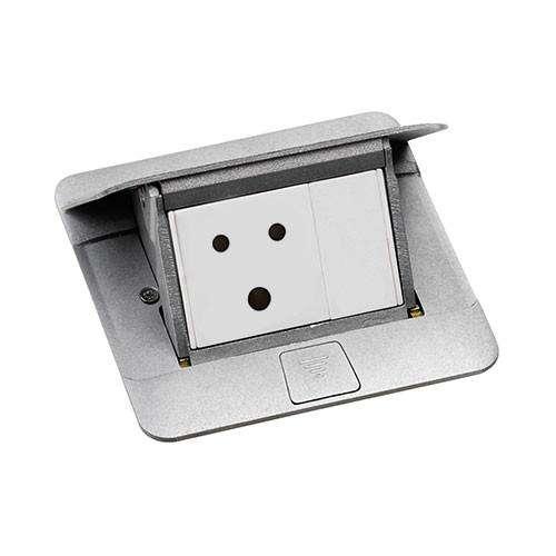 khung ổ cắm âm sàn màu nhôm legrand 3 module