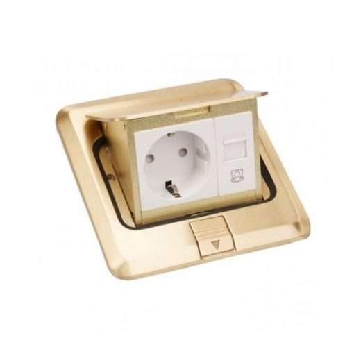 khung ổ cắm âm sàn màu đồng legrand 3 module