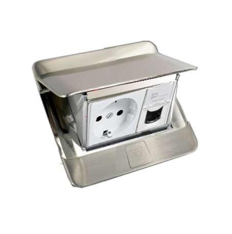 khung ổ cắm âm sàn màu thép legrand 3 module
