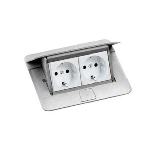 khung ổ cắm âm sàn màu nhôm legrand 4 module