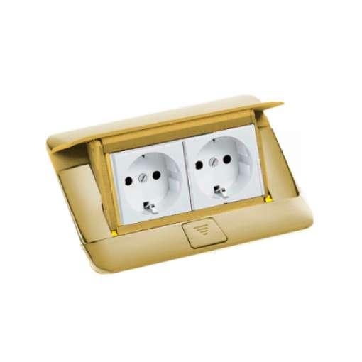 khung ổ cắm âm sàn màu đồng legrand 4 module
