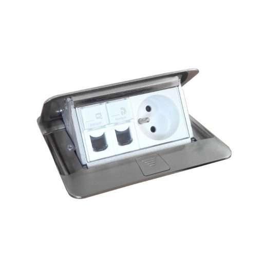 khung ổ cắm âm sàn màu thép legrand 4 module