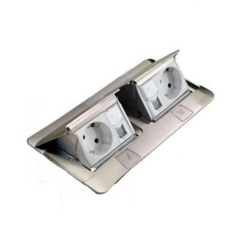 khung đôi ổ cắm âm sàn màu thép  legrand 2x3 module