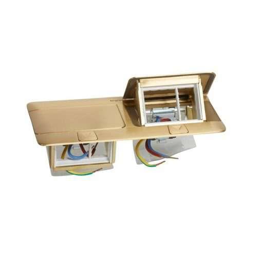 khung đôi ổ cắm âm sàn màu đồng legrand 2x3 module