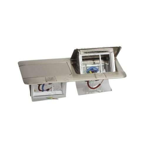 khung đôi ổ cắm âm sàn màu nhôm legrand 2x3 module