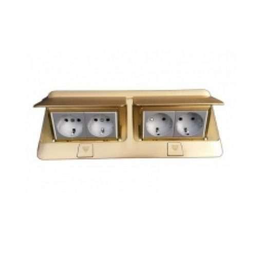 khung đôi ổ cắm âm sàn màu đồng legrand 2x4 module