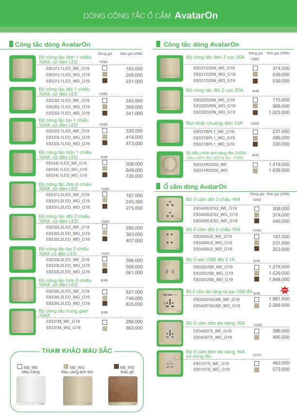 catalogus bảng giá avataron schneider
